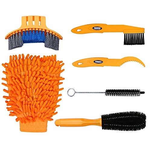 Oumers 6pcs Bike Bicycle Clean Brush Kit/Cleaning Tools for Bike Chain/Crank/Tire/Sprocket Cycling Corner Stain Dirt Clean, Fit All Bike