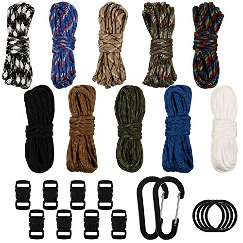 upain 10 Stück Paracord Schnur Armband 550 Paracord Schnüre DIY Parachute Cord Survival Seile mit Schlüsselring Karabinerhaken für Armbänder Schlüsselanhänger Hundehalsband Leine Outdoor-Aktivitäten