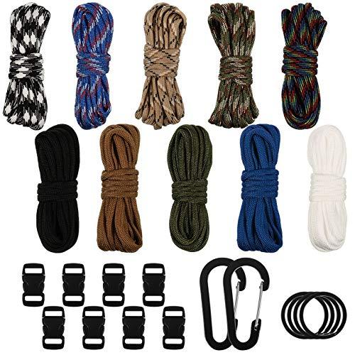 upain 10 unidades Paracord cuerda pulsera 550 Paracord cuerda DIY Parachute Cord Survival cuerda cuerda con llavero mosquetón para pulseras, llaveros, collares de perros, actividades al aire libre