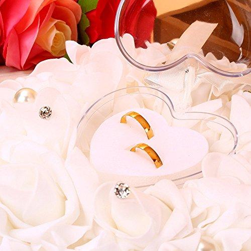 Mumusuki Romantische Rose Hochzeit Gefälligkeiten Herz Perle Geschenk Ring Box Kissen Kissen Ring Box Herz Gefälligkeiten Hochzeit Ring Kissen Schmuck Fall mit einer eleganten Satin Flora