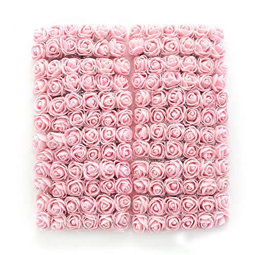 NWSX Gefälschte Rose Blume köpfe 144 stücke Seide künstliche Blumen Rosen DIY Hochzeit Blumen zubehör Machen Braut haarspangen stirnbänder Kleid (Light pink)