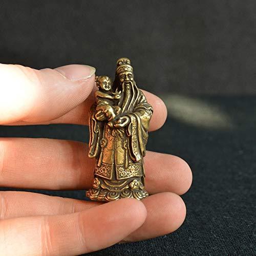 Taoísmo de Bronce Antiguo Tres Dioses de la bendición Riqueza Estatua de longevidad Figuras de Buda de Cobre Puro Adornos Feng Shui Decoración para el hogar