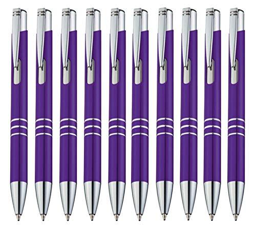 StillRich Industries 10 Stück lila Metall Kugelschreiber Set Premium Kulli, ballpoint pen, hochwertige, ergonomische und blauschreibende Kugelschreiber (lila)