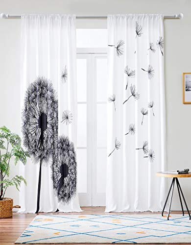 Grace Duet Linen Type Fabric Window Curtains 2 Panels Black White Pattern Curtains (Black/White, 52''x 84'')