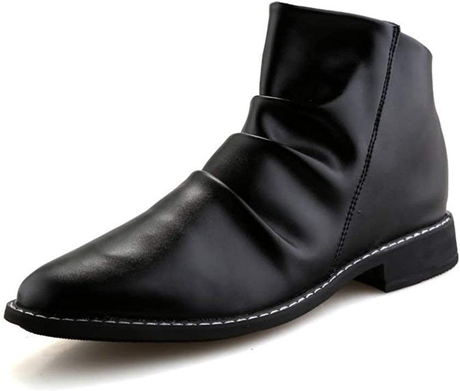 Fuxitoggo Men's Ankle Boots Round Toe Block Heel Pull On Slouch Vamp Oxfords shoes (color  Black, Size  41 EU) (color   Black, Size   44 EU)