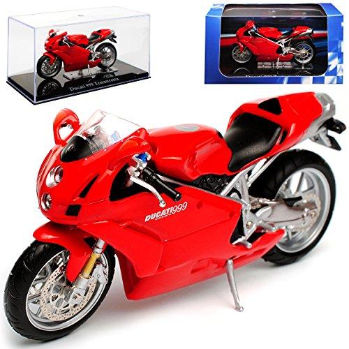 Atlas Ducati 999 Testastretta Rot mit Sockel und Vitrine 1/24 Modell Motorrad