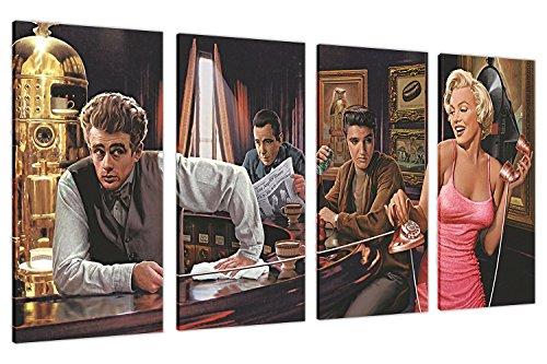 Extragroße Deko-Leinwand, Hollywoodlegenden: Marilyn Monroe, Elvis Presley und James Dean an der Bar, 4 Teile, Breite: 90 cm, Höhe: 71 cm