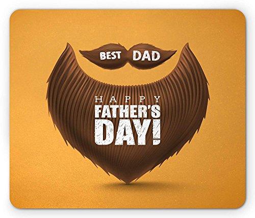 Snor Muis Pad, Beste Papa Gelukkige Vaders Dagbericht op Bushy Gezichtshaar en Baard Figuur, Standaard Grootte Rechthoek Antislip Rubber Mousepad, Chocolade en Oranje