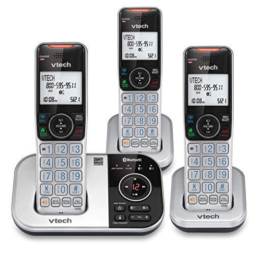 VTech VS112-3 DECT 6.0 Bluetooth 3 Handset Cordless Phone for Home with Answering Machine, Call Blocking, Caller ID, Intercom and Connect to Cell (Silver & Black) (Renewed)