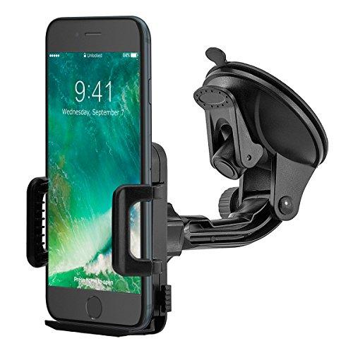 MidGard Saugnapf KFZ Handy Halterung Auto universal (min. 50mm / max. 95mm Breite) mit gummierten Klemmbacken für Handy, Smartphone, Phablet, Navigationsgeräte