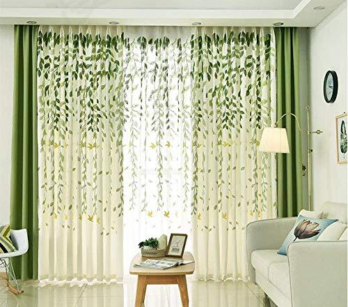 Quality WG polyester katoen en linnen gordijn katoen en linnen borduurwerk plant groen blad halfschaduw stofdicht voor de slaapkamer woonkamer gordijn