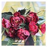 Flor Artificial Shabby Chic Bouquet Europeo Bonita Novia Boda Pequeña Peonía Flores de Seda Mini Flores Falsas para la decoración del hogar Decoración (Color : Red)