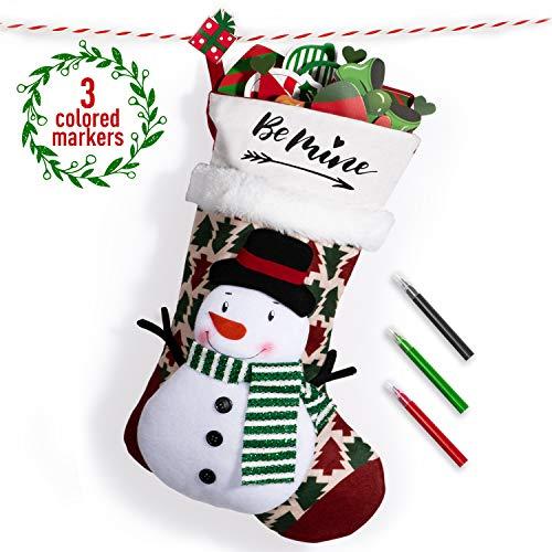 Joyjoz Calza Natalizia Deluxe con pennarelli Tricolore, Calze Natalizie Personalizzate 3D Grandi Fatte a Mano 53cm (Snowman)