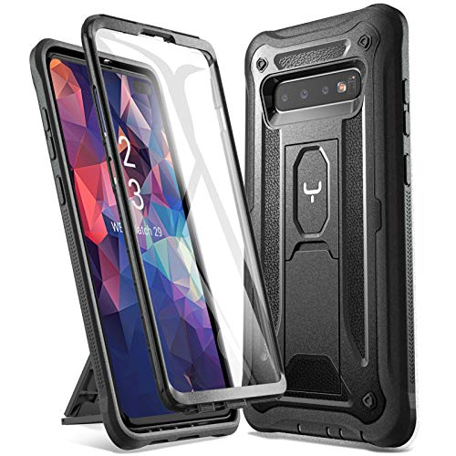 YOUMAKER Kickstand Case for Galaxy S10 Plus, Built-in Screen Protector Work with Fingerprint ID Full Body Heavy Duty Protection Shockproof Cover for Samsung Galaxy S10+ Plus 6.4 inch (2019) - Black