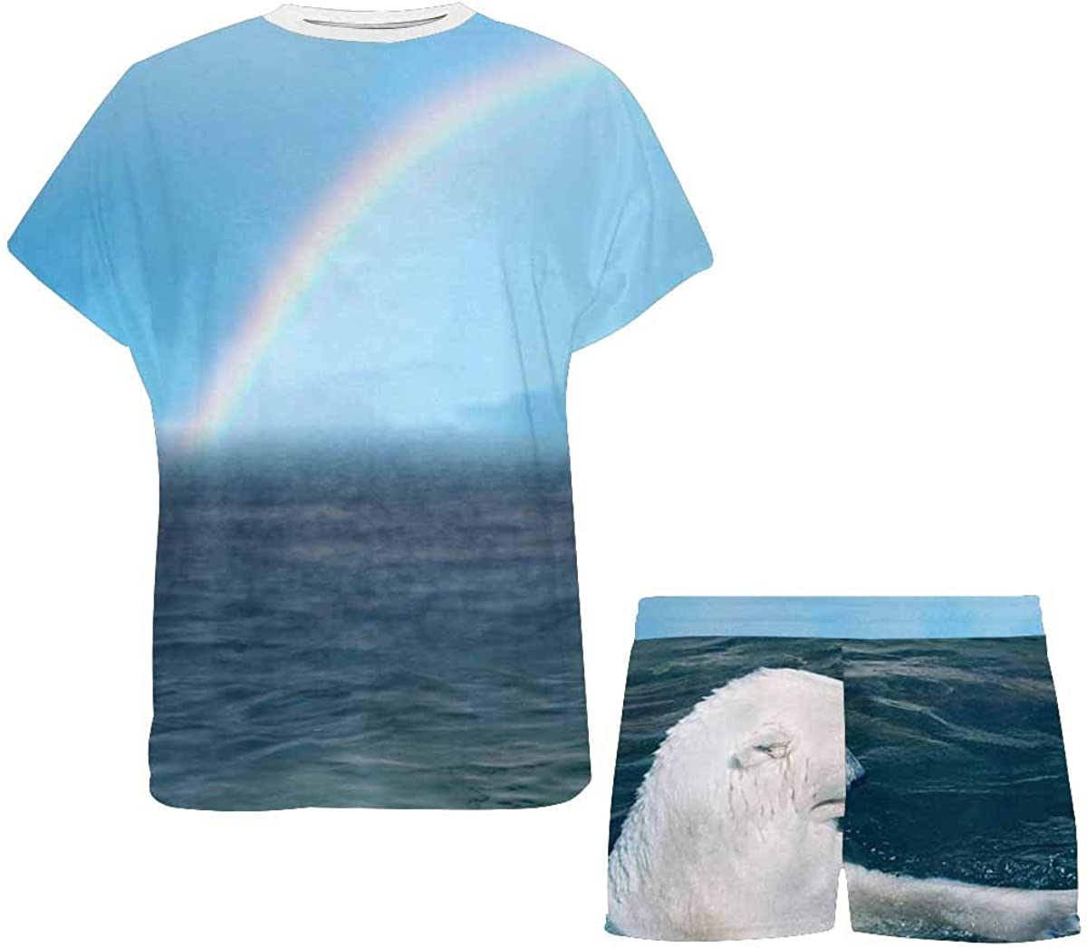INTERESTPRINT Polar Bears and Rainbow Women's Pajama Sets Short Sleeve Shorts - Pajamas for Women