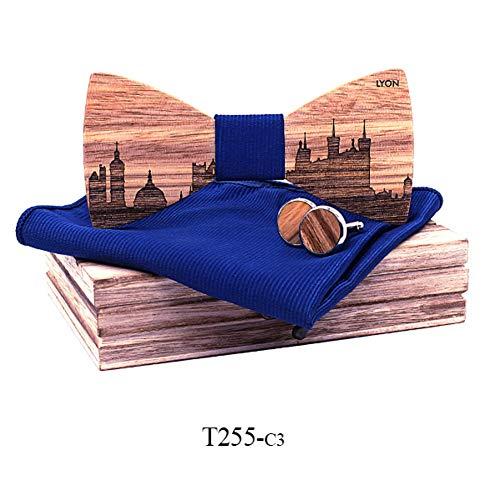DYDONGWL Krawatten Herren,Holz Fliege,Walnuss Holz Holz Fliegen Schmetterling Krawatten für Männer Manschettenknöpfe cravate Manschettenknopf