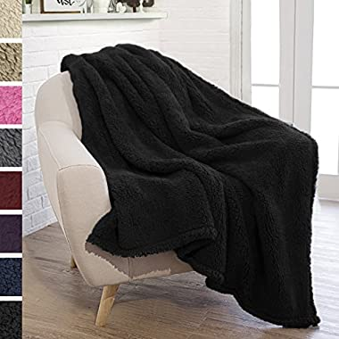 PAVILIA Plush Sherpa Throw Blanket for Couch Sofa | Fluffy Microfiber Fleece Throw | Soft, Fuzzy, Cozy, Lightweight | Solid Black Blanket | 50 x 60 Inches
