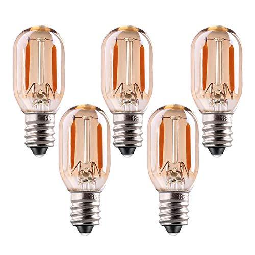 Genixgreen T22 LED-Lampe, e14 led warmweiss 2200K 1W Vintage Röhren-Nachtlicht Amber Glow 10W Glühlampenersatz Kandelaber LED-Faden-Zeichenlicht Nicht dimmbar 5er Pack