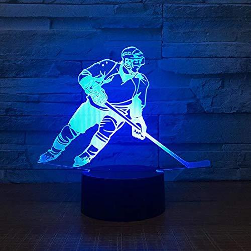 Hockey-Spieler 3D Led Lampe Nachtlicht,7 Farben Ändern Touch Control Für Kinder Familie Ferienhaus Dekoration Valentinstag Weihnachten Beste Geschenk