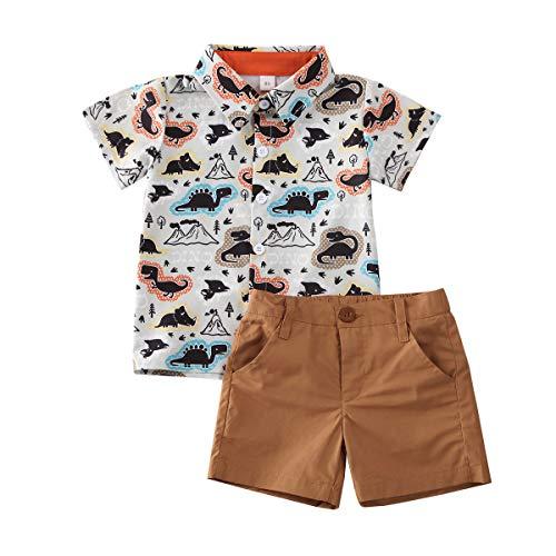 Mekysd Baby Boy Gentleman - Conjunto de 2 piezas de ropa para bebé con estampado de dinosaurios y pantalones cortos índigo, café, (Coffee-B), 2 Años / 3...