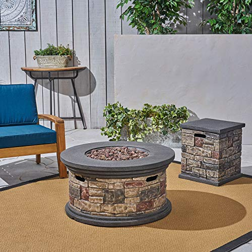 Contemporary Home Living 2pc Brown and Gray Round Outdoor Patio Fire Pit with Tank Holder Set 32.25'