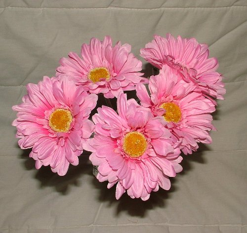 A1-Homes 6 x Artificial Single Stem Light Pink Gerbera with Big Bloom - Very Dramatic - Home Garden