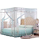 JQWUPUP Mosquito Net for Bed - 4 Corner Canopy for Beds, Canopy Bed Curtains, Bed Canopy for Girls Kids Toddlers Crib, Bedroom Decor (Queen Size, Light Blue)