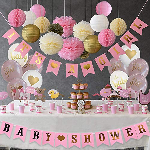 Baby Shower Burlap Banner, bunting banner, Rustic Theme Party Decorations, Vintage Pennants Flags With Blue Lettering, Pre Strung With Jute Rope, 10 Feet