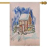 Overlooked Shop Paisaje de Banderas Decorativas al Aire Libre con cabaña en casa de Invierno y árboles de Navidad Acuarela Dibujada