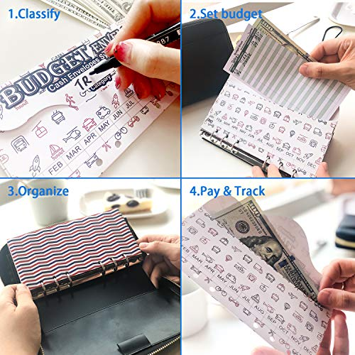 All-in-One Cash Envelopes Wallet Finances Organizer with 12 Budget Envelopes & Budget Sheets, PU Leather Wallet with Zip Phone Pocket Clutch Large Travel Purse Wristlet Hand Strap Maker Pen Photo #3