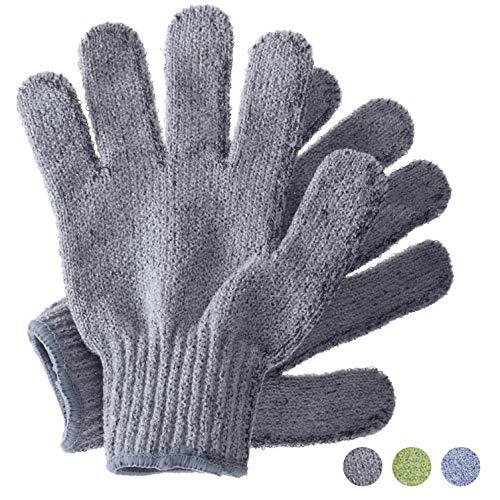 Peelinghandschuhe, Bambus Peeling Mitt, Bade- / Duschpeeling, Körperpeeling Handschuhe, Beauty Peelings/Luffa, eingewachsenes Haar/Entferner für abgestorbene Haut, kratzende Öko-Mikrofaser (Grau)