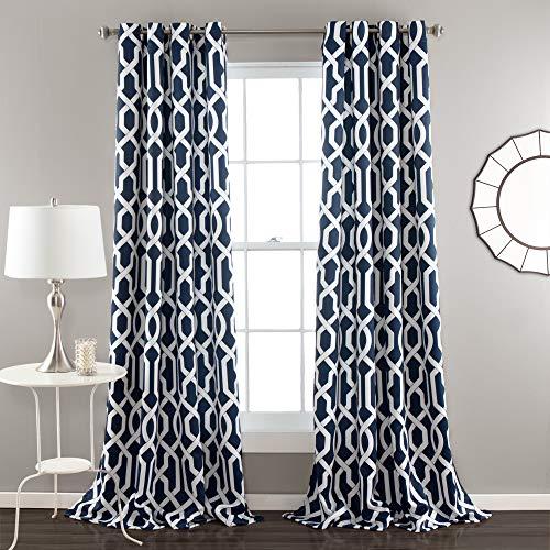 "Lush Decor Edward Trellis Darkening Window Curtains Panel Set for Living, Dining Room, Bedroom (Pair), 84"" L, Navy"