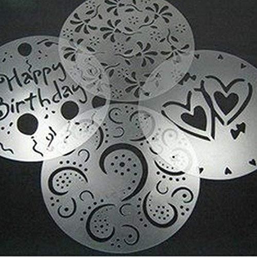 EQLEF® Kuchen-Schablone Alles Gute Zum Geburtstag, Cup-Kuchen-Schablonen, die Blumen-Schablonen-Kaffeeschablonen Set von 4 verzieren