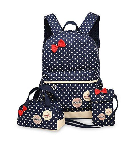 Zaino Casual Scuola Set 3Pcs Daypacks / A Pois Canvas Backpack Tela Zaini Ragazza / DonnaMarina Militare Taglia unica