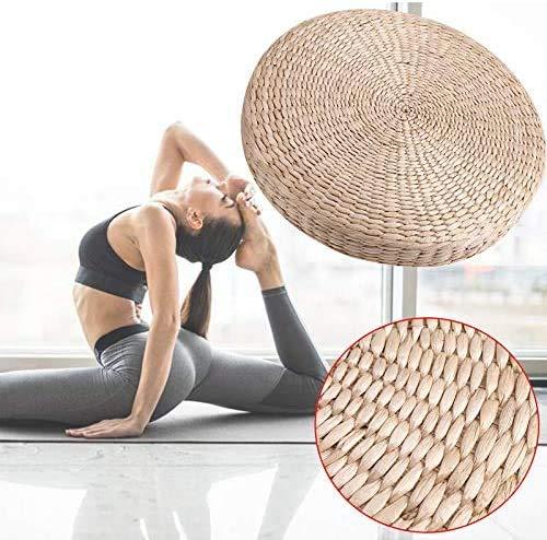 Estink Tatami Cushion, Woven Straw Floor Padded Cushion Japanese Style Handcraft Yoga Mat Meditation Pillow Cushion for Zen,Yoga Practice or Buddha Meditation (40cm x 6 cm)
