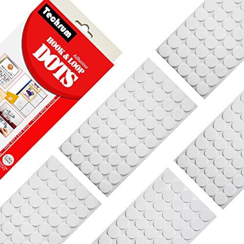 Techrum 500 Stück 20mm Klettpunkte Selbstklebend (250 Paar) Klett Klebepunkte Self Adhesive Klebe Punkte für Papier, Kunststoff, Glas, Leder, Metall, Kleidungsstücke