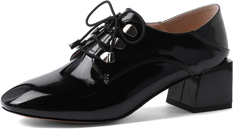 ANNIEschuhe Schnürhalbschuhe Damen Lack Elegant Elegant Leder Casual Absatz  hohe Qualität echt