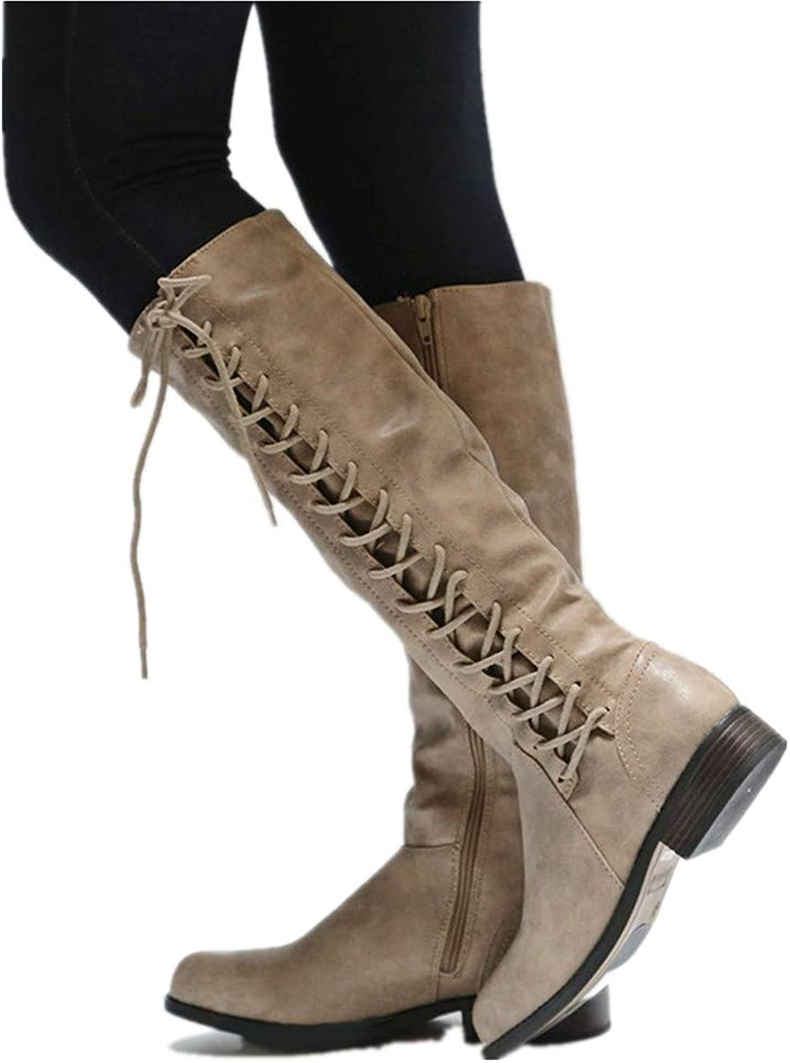 Women Knee Knight Boots Lace Up Thigh High Boots Zipper Trendy Military Style Boot
