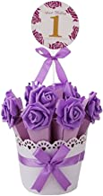Decorative Candy Box Wedding Party Favor Gift Box, Light Purple Box + Purple Flower