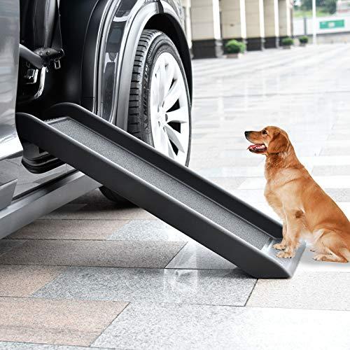 Bellanny Hunderampe Haustierrampe, 101x38x7.5cm Hundetreppe, Hunderampe Auto, Kofferraumrampe für Haustiere, Auto Rampe für Kunststoff Hund, Anti-Rutsch Beschichtung, max 90kg -Schwarz