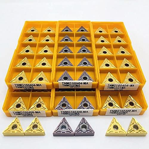 XYXXBB CNC-Werkzeug Hartmetalleinsatz, TNMG160404 TNMG160408 Externes Drehwerkzeug TNMG 160408 Schneideinsatz-Schneidwerkzeug TNMG (Angle : TNMG160408 MA VP15TF, Insert Width(mm) : 10PCS)