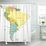 AIDEMEI Cortina de Ducha Mapa de América Central del Sur Paraguay Perú Argentina Barbados Bolivia Conjunto de Tela de poliéster Impermeable 180X180CM