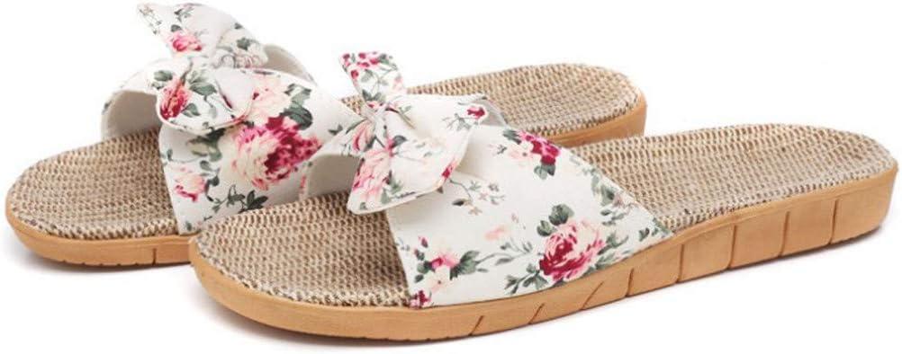 PVCS Beach Sandals for Women Summer Bohemia Bowknot Flax Linen F