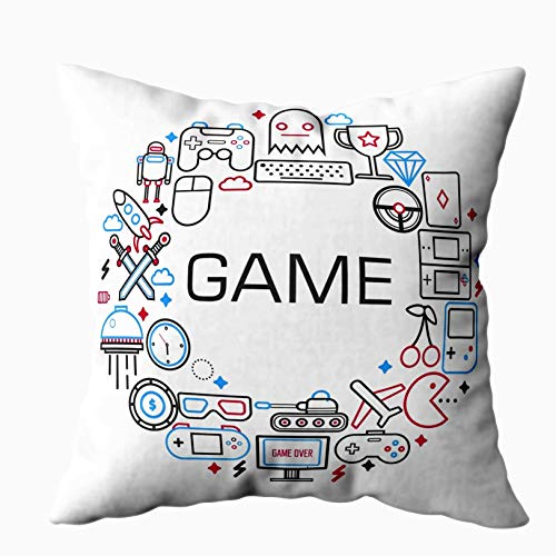 Fundas de almohada estándar, juegos de Internet con pulgadas ocultas con cremallera Cartel de juegos electrónicos Dispositivos de juego Iconos de contorno Decoración Funda de almohada de algodón Funda