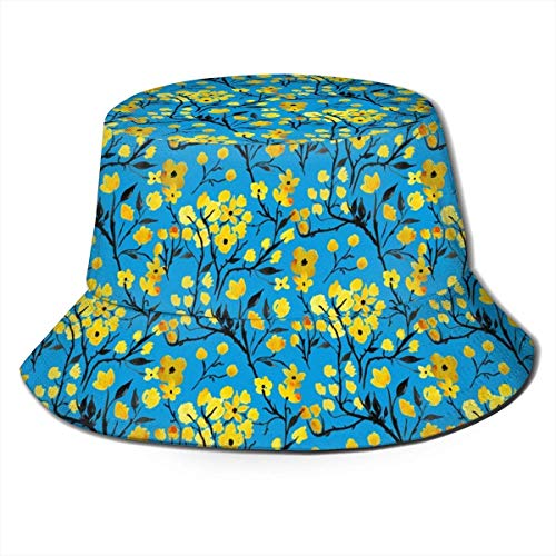 zhouyongz Sun Hat Japanese Flowers and Branches Bucket Cap UV Sun Protection Fisherman