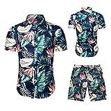Juego de pantalones cortos de manga corta para hombre, camisa hawaiana para verano, tiempo libre, camiseta ajustada Verde_2 XXL