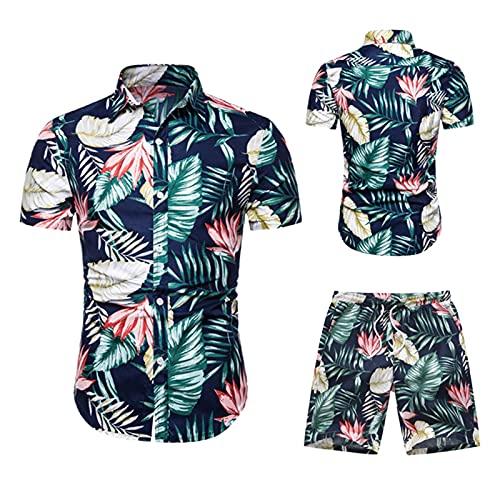 BIBOKAOKE Herren Hemd Shorts Set Hawaii Blumen Bedrucktes Freizeitanzug Mode Floral Stehkragen T-Shirt + Kurze Hose Zweiteiler Sommer Trainingsanzug Jogginganzug Sport Anzug für Coole Männer