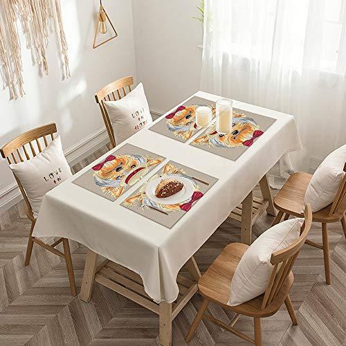 Sets de table de Rectangulaire lavables, durables, résistants à la chaleur et antidérapants,Yorkie, hipster Yorkie avec joli canard en paille et noeud pap,Salle à Manger de Cuisine de Fête (Lot de 4)