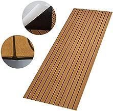 CHURERSHINING EVA Faux Teak Decking Sheet for Boat Yacht Marine Flooring Mat Non-Slip Mat Self-Adhesive Carpet 35.4