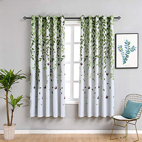"""MYRU 2 Panels Set Leaves Bird Curtains 63 Inch Length Semi Blackout Curtains for Kids Room(2 x 54 by 63"""")"""